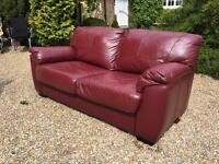 2 SEATER RED LEATHER SOFABED