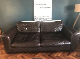 2 piece brown leather sofa (Arthur Llewelyn Jenkins G plan)