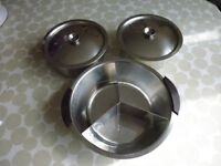 3 Stainless Steel Serving Dishes