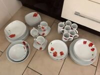 2 Beautiful Poppy Dinner sets Large