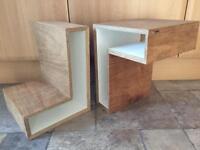 Pair of Solid wood/veneer versatile shelving