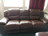 HARVEYS BROWN LEATHER RECLINERS 3+2 SEATERS - MUST GO ASAP - CHEAP DELIVERY - £450