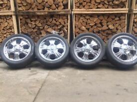 "20"" Alloy wheels & tyres 5x130 chrome"