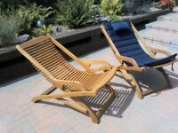 Hardwood garden chairs with cushions