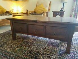Beautiful dark Indian solid wood coffee table