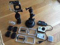 GoPro 3 Package with Wifi Remote, LCD Screen, Spare Battery, 4 Cases, Suction Cup etc.