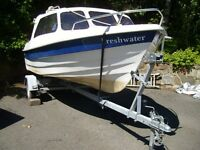 Fishing / Pleasure Boat 2005 MG 420 with 2005 Honda 10 hp 4 Stroke Outboard Engine and Trailer.