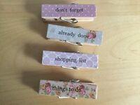 4 pretty wooden shopping list pegs