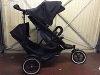 Phil and Teds Explorer Double Pushchair including rain cover, carry cot and Maxi Cosi adapters