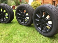 4x Alloy wheels Matt black for Rover 25 -Size 195x55x15