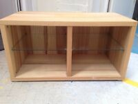 Small solid wood and glass shelving/storage unit