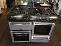 Black & silver belling 100cm dull fuel cooker grill & double fan ovens with guarantee