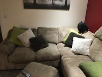 Left hand corner sofa & foot stool, including cushions and Large mink throw