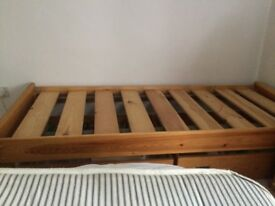 Single bed, Solid wood. Handmade. With 3ft mattress. Excellent condition