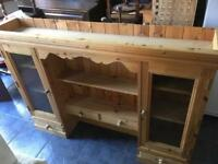 SOLID PINE WALL MOUNTED GLASS DISPLAY/PLATE RACK UNIT - CAN DELIVER