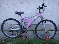 Trax TFS1 bike, 26 inch wheels, 17 inch frame, 18 gears, full suspension, pink