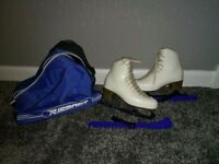 Risport Ladies Size 4 Figure Skating Boots + guards and travel bag