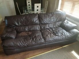 DFS leather three piece suite