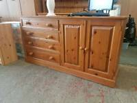 Large pine sideboard with four drawers