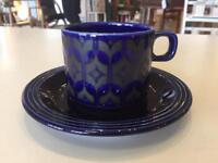 Hornsea cups and saucers x4 blue