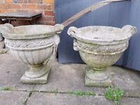 Reconstituted stone garden urns