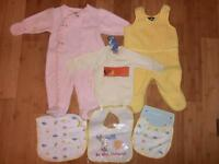 Three bodysuits and three bibs