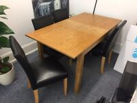 Solid Wood Dining Table + 4 Faux Leather Chairs (extendable)