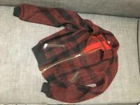 Burberry Brit Burgundy Red And Black Wool And Cashmere Bomber Jacket