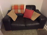 Leather two and three seater sofas