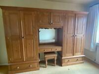 Large solid pine triple double wardrobe
