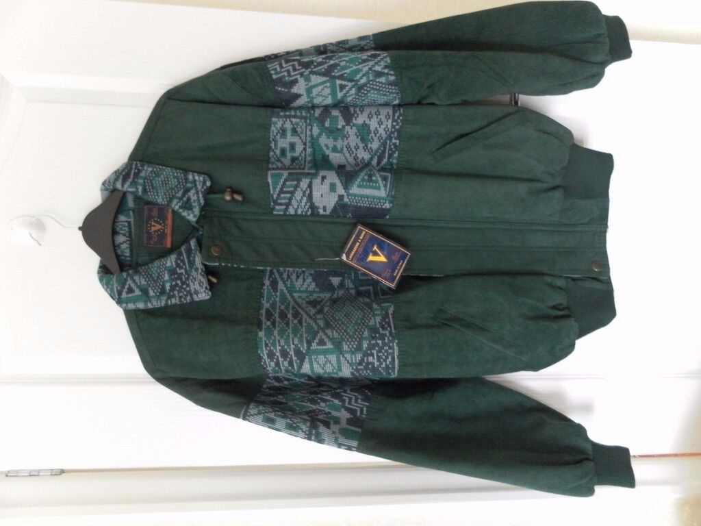 Green, suade jacket with chest design