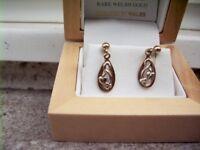 Cymru Y Metel (Welsh) drop earrings in two tone 9ct gold