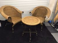 Rattan Wicker Bistro Set 1 table 2 chairs