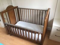 Moving Sale! Large cot with matching chest of drawers