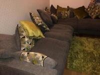 SOFAWORKS CORNER SETE LARGE GREY & GREEN - INCLUDING RUG LIVING ROOM FURNITURE