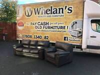 3 and 1 seater sofa in thick leather Hyde through out from dfs