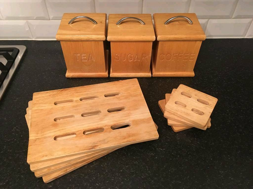 Wooden Tea Coffee Sugar Canisters Placemats Coaster Kitchen Set In Leicester Leicestershire Gumtree