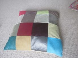 BRAND NEW MULITCOLOURED LEATHER/SUEDE PATCHWORK CUSHION COVER