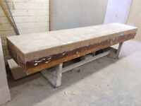 Heavy duty wooden plasterers workbench on wheels