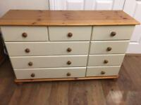 Cream chest of drawers, cot bed & toy box