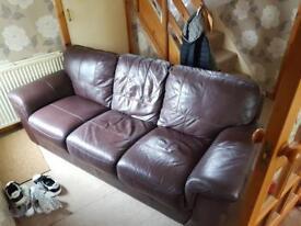 3 seater burgundy leather sofa