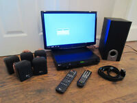 """22"""" Full HD 1080p Digital LCD TV + LG Home Theater System + Sub Woofer + Remotes"""