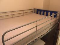 Single bed with ladder. Grey and blue.