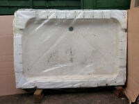 Unused 1200 x 800 white shower tray, stone resin