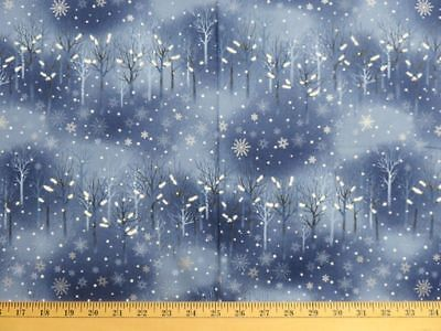 Snowflake Wonderland Fabric Fat Quarter Out Of Print Snow Scene Trees at Night](Snowflake Scenes)