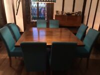 Solid teak square dining table and 8 chairs