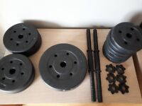 Weight lift set. Free weights. 2x dumbell bars, 1x curl bar, 27.5kg in mixed weight plates
