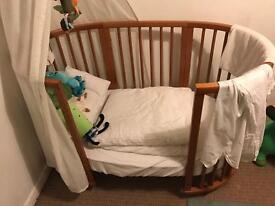 Stokke Mini and Sleepi extension with canopy and bedding