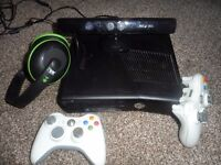 Xbox 360, headphones,kinect and games