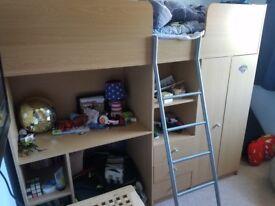 High Sleeper single bed with matress, ladder, wardrobe, shelves & storage